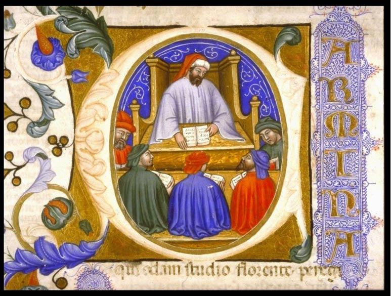 """Boecio enseñando a sus alumnos, página 4 de un manuscrito de """"La Consolación de la Filosofía"""" (probablemente procedente de Italia, 1385) (Public Domain)"""