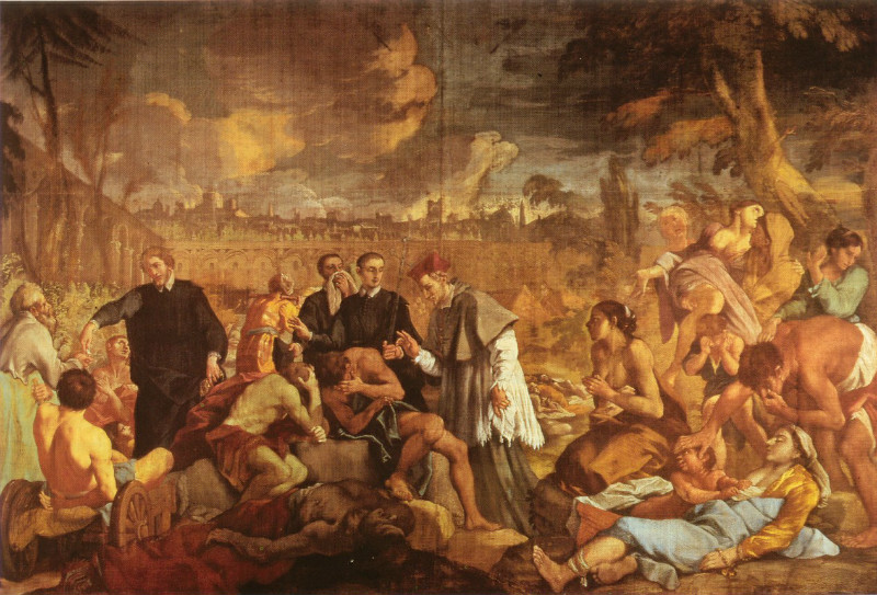 La peste aniquiló al 60% de la población europea entre los años 1346 y 1353. Federico Borromeo visita el lazareto durante la peste de 1630, obra de Luigi Pellegrini Scaramuccia (1670). Biblioteca Ambrosiana, Milán. (Public Domain)