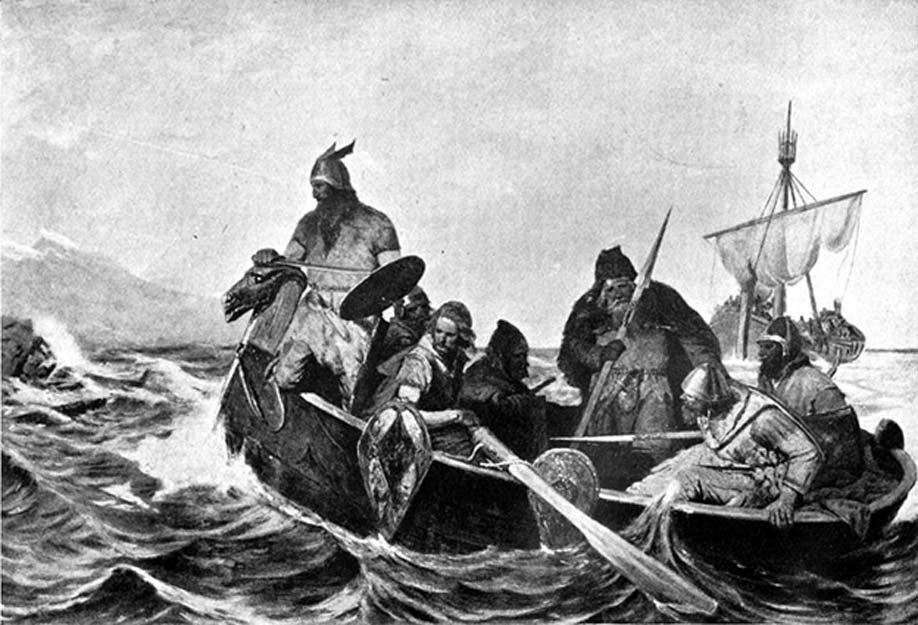 Un grupo de vikingos se dirige a tierra en un bote de remos. Ilustración de Oscar Wergeland. (Public Domain)
