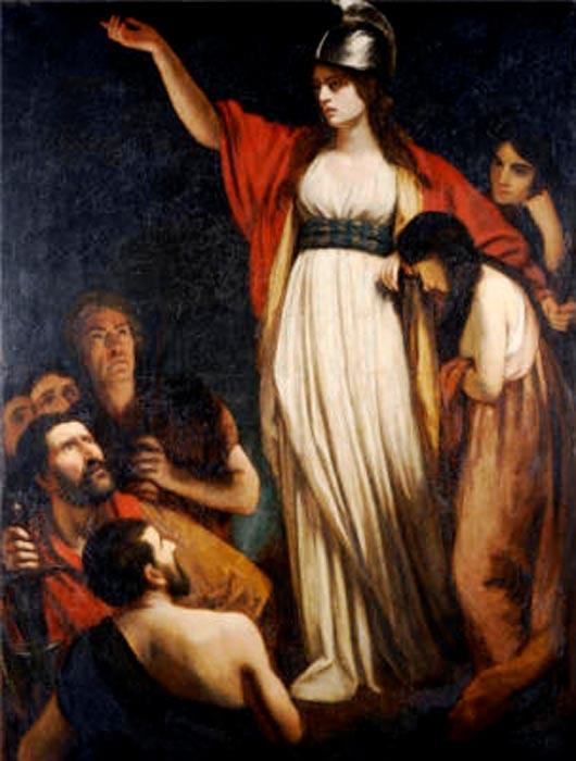 'Boadicea arengando a los britanos', óleo de John Opie. (Public Domain)