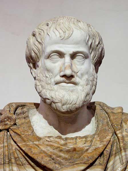 Busto de Aristóteles. Mármol, copia romana de un bronce griego original de Lisipo del 330 a .C.; el manto de alabastro es un añadido moderno. (Dominio público)