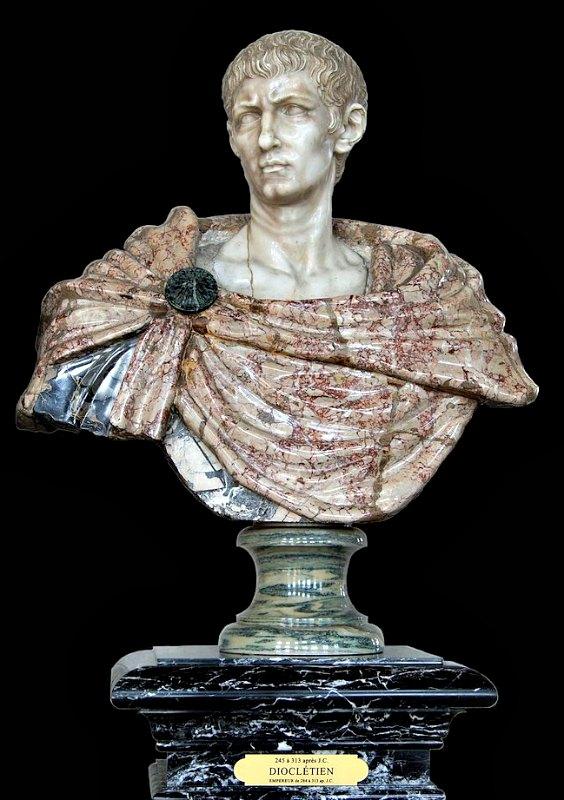 El emperador romano Gaius Aurelius Valerius Diocletianus, busto de mármol del siglo XVII. Castillo de Vaux-le-Vicomte, Francia. (Public Domain)