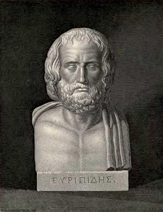 Busto de Eurípides; frontispicio para el libro 'The Plays of Euripides' ('Las obras de Eurípides') - (1910). (Dominio público)