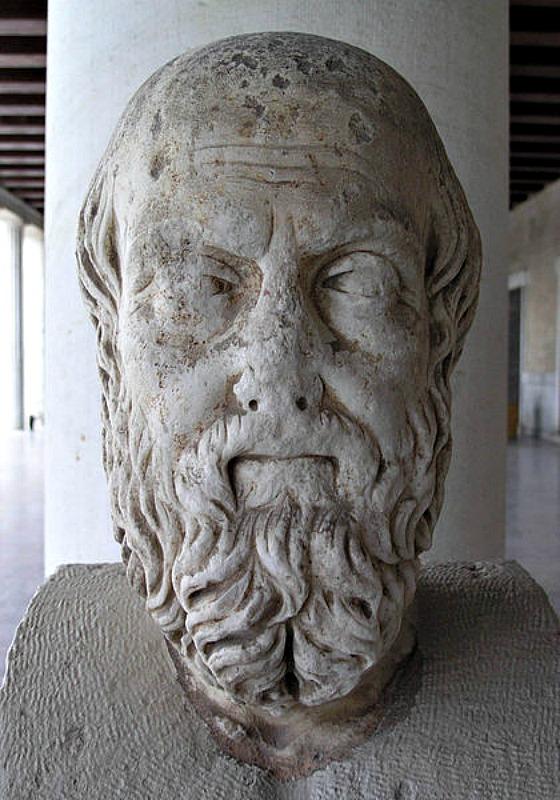 Busto de Heródoto, siglo II d. C. Copia romana de un original griego. Expuesto en el pórtico de la Estoa de Átalo, que alberga el Museo de la Antigua Ágora de Atenas. (GNU Free)