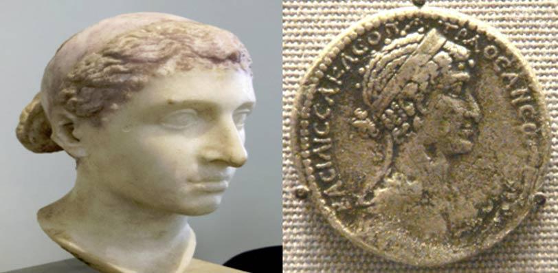 [Izquierda] Busto que se cree de Cleopatra VII, Altes Museum, Berlín. (Public Domain) [Derecha] Tetradracma de Cleopatra VII. (Public Domain)