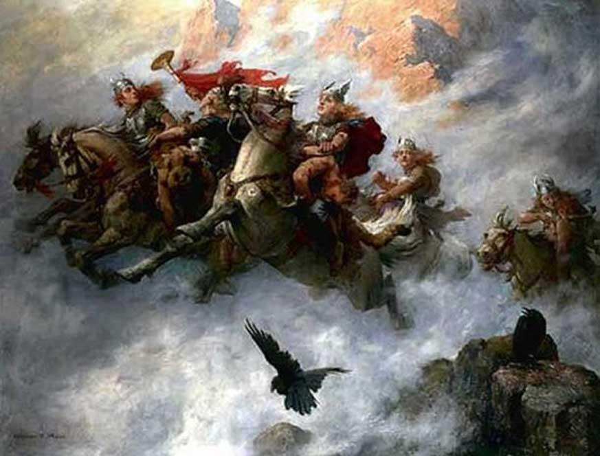 'La Cabalgada de las Valkirias' (1890), óleo de William T. Maud. (Dominio público)