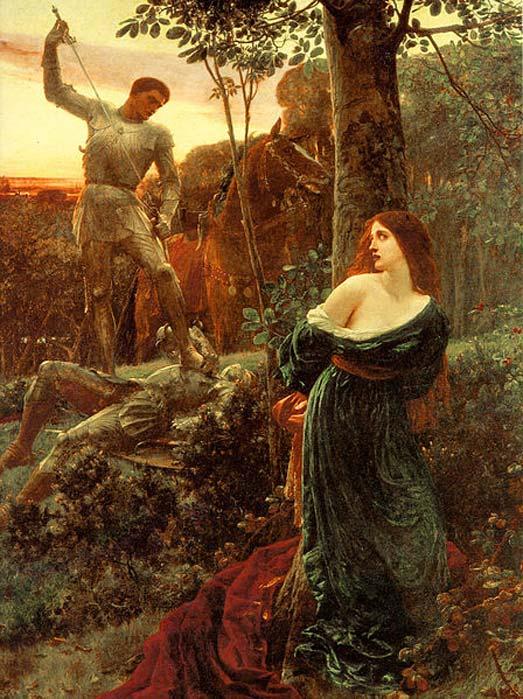 'Caballería' (1885), óleo de Frank Dicksee. (Dominio público)