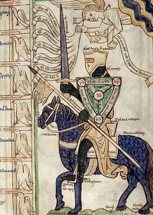 """Caballero medieval alegórico preparándose para batallar contra los siete pecados capitales con el diagrama del """"Scutum Fidei"""" de la Trinidad como escudo. Detalle de una ilustración de la Summa Vitiorum o """"Tratado de los vicios"""" (1255-1265), obra de William Peraldus. (Dominio público)"""