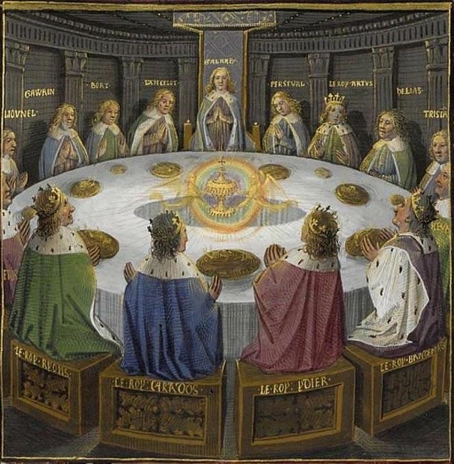 Los caballeros del rey Arturo reunidos en torno a la Tabla Redonda, en cuyo centro se encuentra el Santo Grial. (Public Domain)
