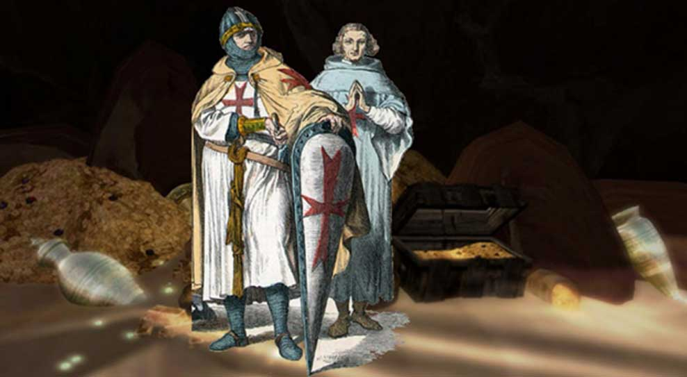 Caballeros templarios (Public Domain) y tesoros diversos. (CC BY SA 2.0)
