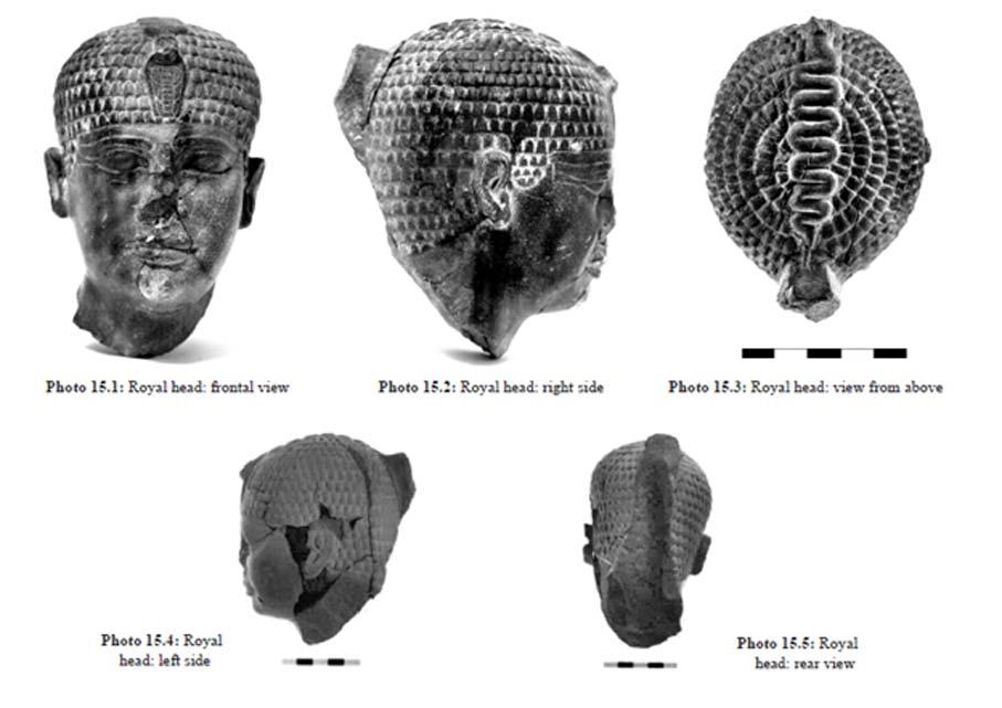 """Escultura, cabeza de faraón hallada en Hazor. Imagen obtenida de """"Hazor VII: Las excavaciones de 1990-2012. La Edad del Bronce"""" (pág. 576) (Sociedad de Exploraciones de Israel)"""