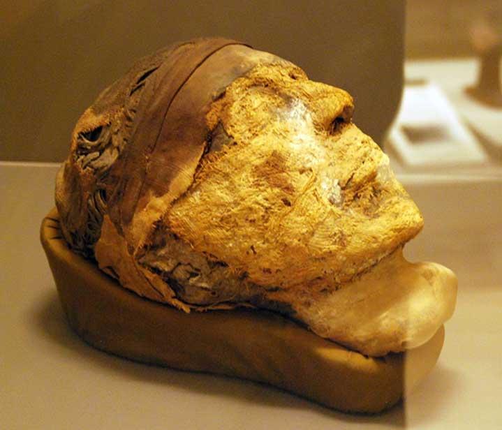 El decapitado, cabeza momificada encontrada en la tumba 10A (CC by SA 3.0)