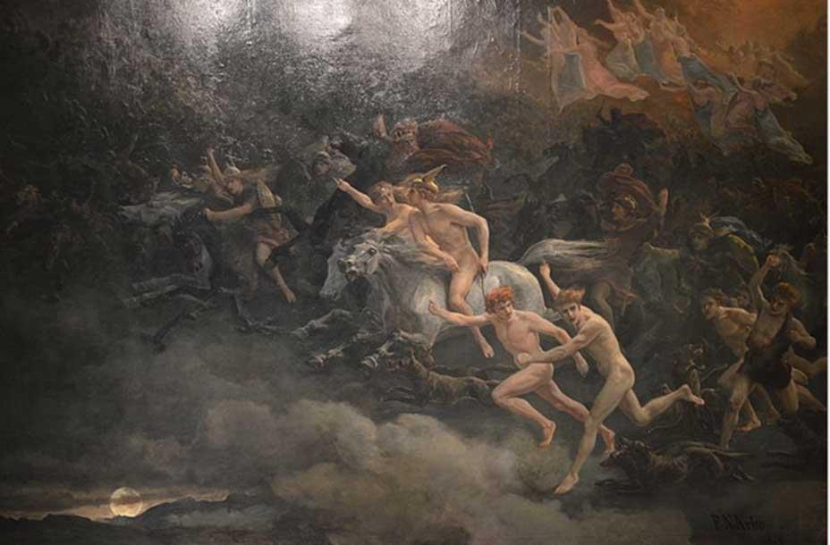 'La Cacería Salvaje de Odín', óleo de Peter Nicolai Arbo (1868). (Dominio público)