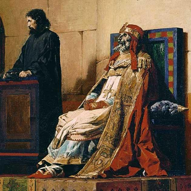 El cadáver del papa Formoso durante el juicio al que fue sometido. (Public Domain)