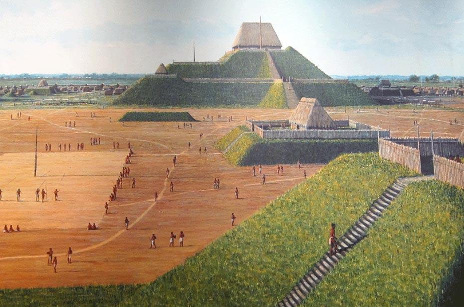 Representación artística del Monk's Mound tal como aparece en el centro interpretativo del Parque Estatal de los Túmulos de Cahokia