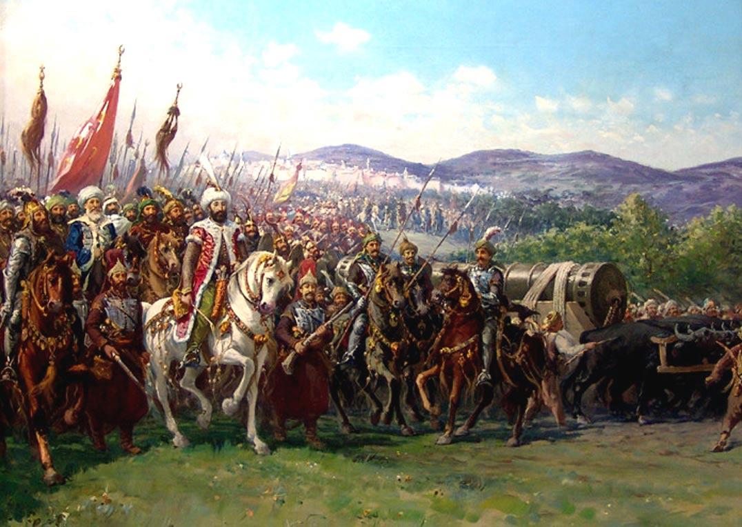 La caída de Constantinopla in 1453. Mehmed II y su Ejército Otomano se aproximan a Constantinopla con una gigantesca bombarda, obra de Fausto Zonaro. (Wikipedia)