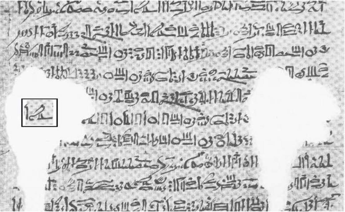 Pasaje del Calendario de El Cairo. En el interior del rectángulo sobreimpreso podemos observar la palabra 'Horus' en escritura hierática. (Lauri Jetsu)