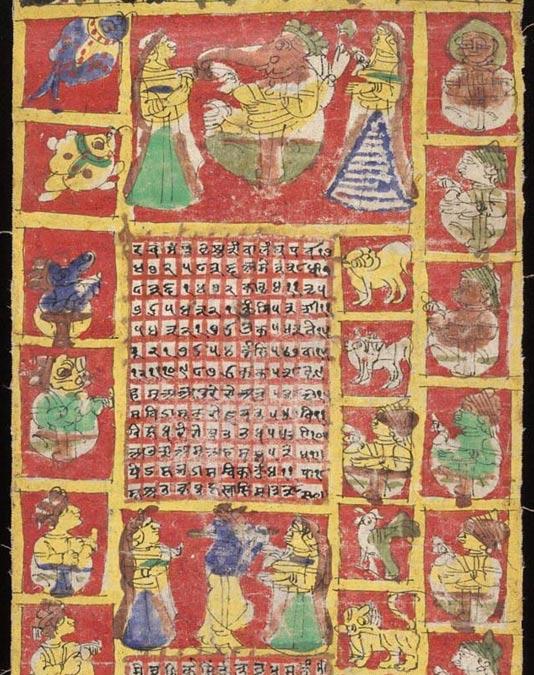 Detalle: calendario/almanaque hindú de tela correspondiente a los años occidentales 1871-1872 y procedente de Rajastán (India). (Public Domain)