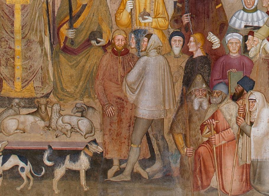 Detalle del fresco de Andrea di Bonaiuto 'Camino de salvación de la Iglesia triunfante militante', c. 1365-1368. Las figuras del centro de la pintura han sido identificadas por Jacques Paviot como un caballero inglés de la Orden de la Jarretera hablando con un mongol. (Dominio público)