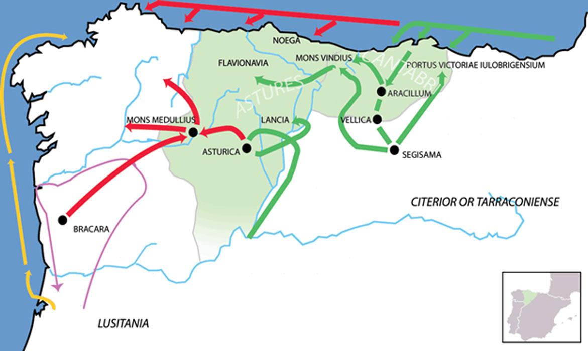Campañas romanas de conquista de Cantabria, Asturias y León (en verde). Las flechas indican las líneas de avance de las tropas romanas: en verde la campaña del 22 a. C., en rojo la campaña del 25 a. C. La campaña de Décimo Junio Bruto en el 137 a. C. aparece señalada con una flecha morada y el desembarco de Julio César en Brigantium con una flecha amarilla. (CC BY 2.5)