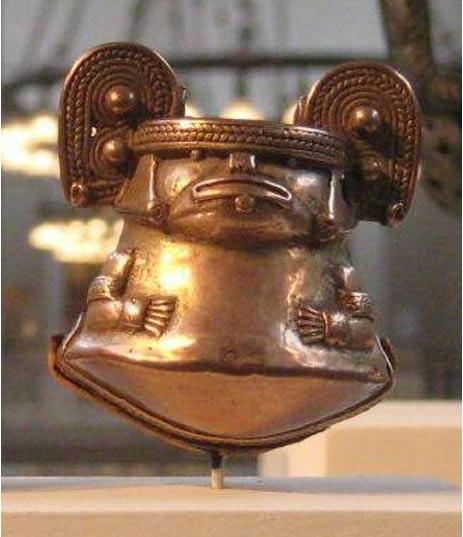 Campana de tumbaga, Cultura Tayrona, 1000-1500 A.D., Museo de Arte Metropolitano, Nueva York. 2010.