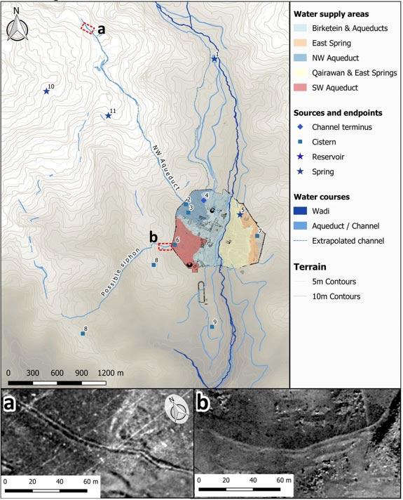 Fuentes de agua e infraestructuras de Jerash con imágenes de canales de abastecimiento, mapeadas mediante el registro de datos por teledetección100-y. Las probables áreas de suministro se han calculado a partir del DTM de 1953. (Imagen: David Stott et al. / PNAS)