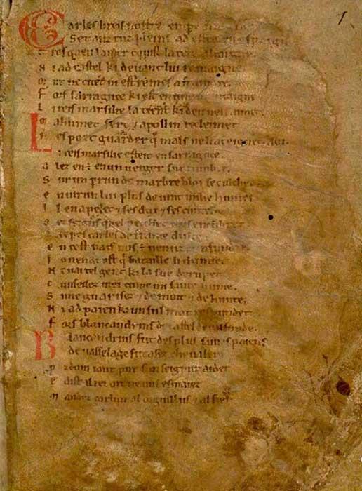 Primera página de la Chanson de Roland, (Cantar de Roldán), poema épico compuesto en el año 1098. (Public Domain)