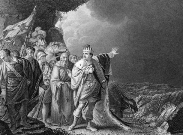 """""""Canuto Reprobando a sus Cortesanos,"""" grabado de R.E. Pine. Ilustra una leyenda sobre el rey Cnut o Canuto en la que se cuenta que creía que podía impedir la crecida de la marea, pero que al comprobar que no le era posible colgó su corona de un crucifijo y no se la volvió a poner. (Wikimedia Commons)"""