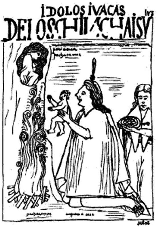 Ilustración de Felipe Guamán Poma de Ayala (1615). Esta imagen podría representar el ritual de la Capacocha. Biblioteca Nacional de Dinamarca. (Dominio público)