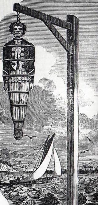 El capitán Kidd, famoso pirata escocés, ahorcado públicamente a la orilla del mar para disuadir a otros posibles piratas (Public Domain)