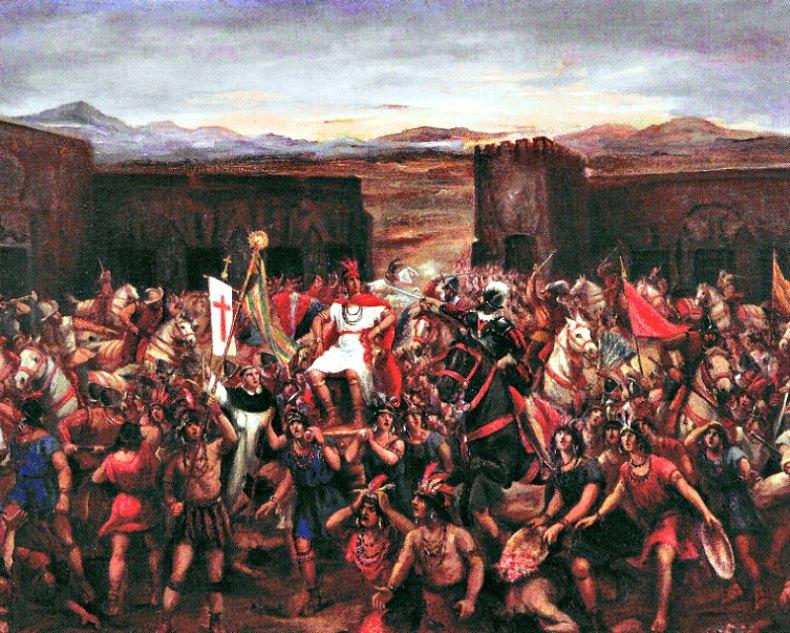 "Atahualpa fue apresado en el transcurso de la batalla de Cajamarca. ""La captura de Atahualpa"", óleo del peruano Juan B. Lepiani (1864-1932). Museo de Arte de Lima, Perú. (Public Domain)"