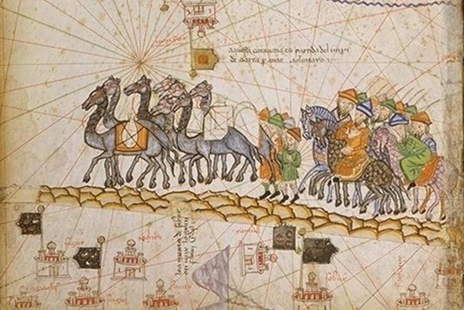 Caravana recorriendo la Ruta de la Seda, ilustración del Atlas Catalán (1380). Public Domain