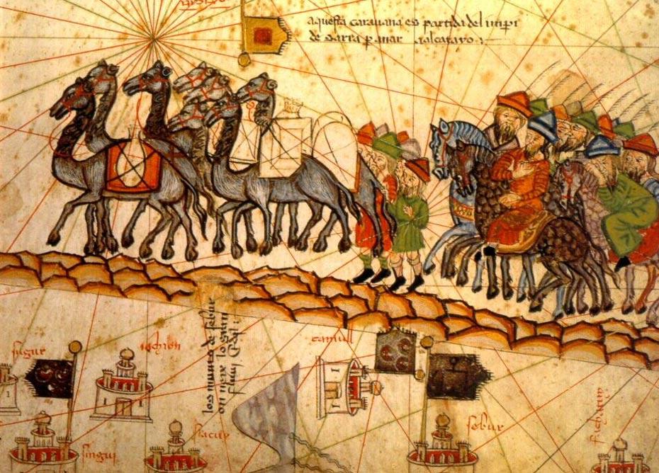 Atlas catalán de 1375: las caravanas transportaban incienso desde África hasta Oriente Medio, Europa y Asia (Wikimedia Commons)
