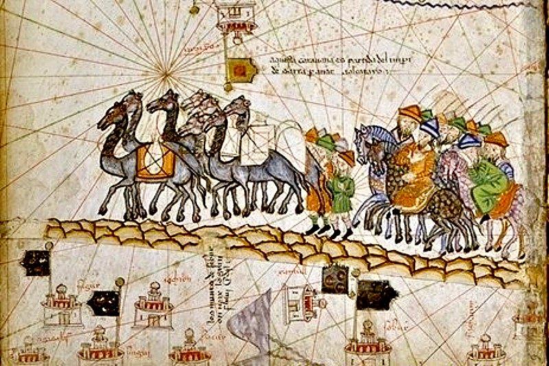 Caravana recorriendo la Ruta de la Seda. Ilustración del Atlas catalán creado por Cresques Abraham (c. 1380). (Public Domain)