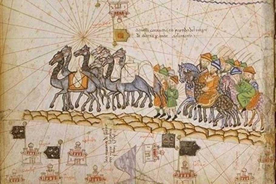 Caravana recorriendo la Ruta de la seda, 1380. (Dominio público)