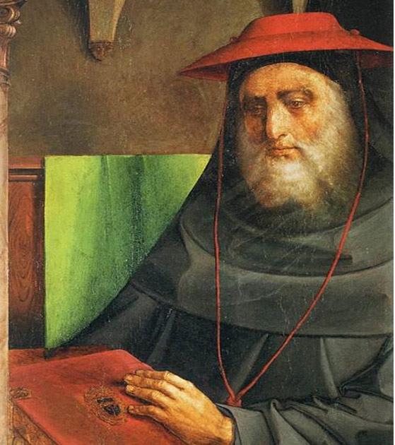 Retrato del Cardenal Bessarion, 1473-75 obra de Justus van Gent y Pedro Berruguete. Actualmente en el Museo del Louvre, Paris. (Wikimedia Commons)
