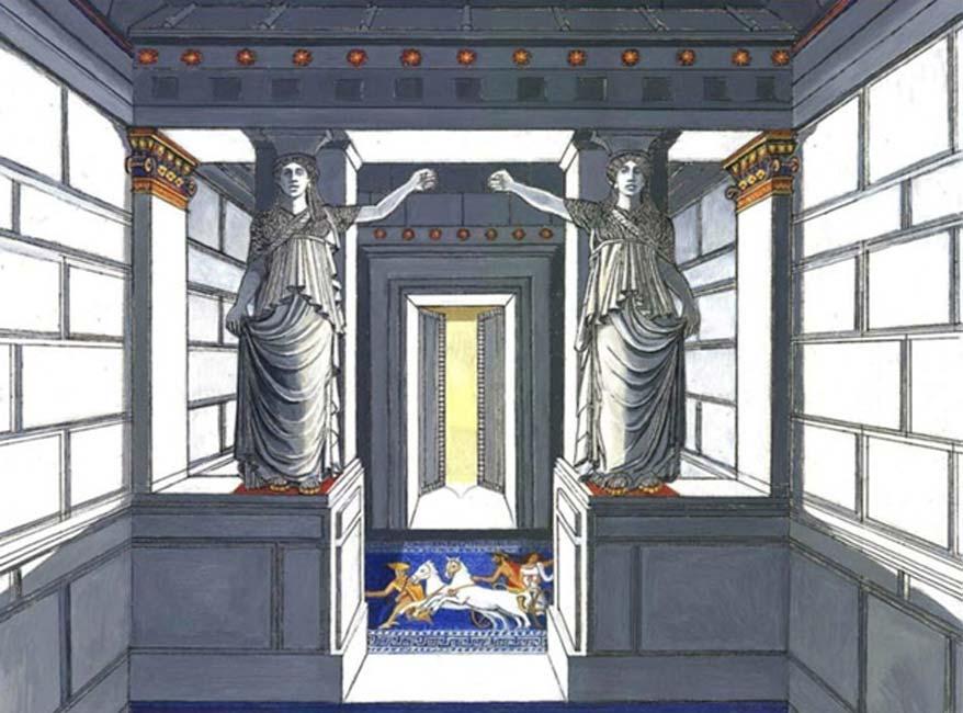 Representación artística de las cariátides de la tumba de Anfípolis © Gerasimos G. Gerolymatos