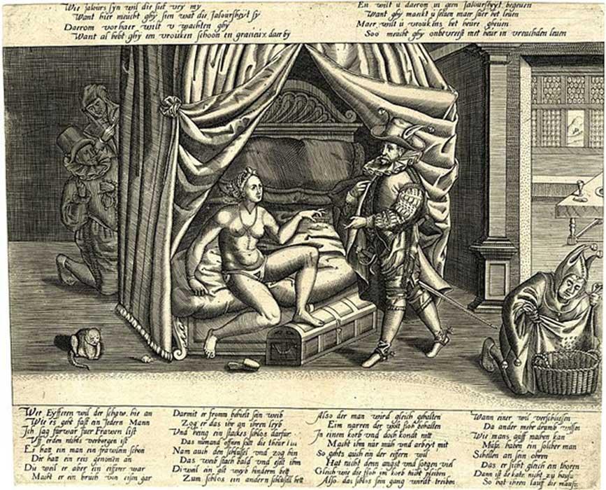 Caricatura sobre la evidente inutilidad de los cinturones de castidad. (Handcuffed/Dominio público)