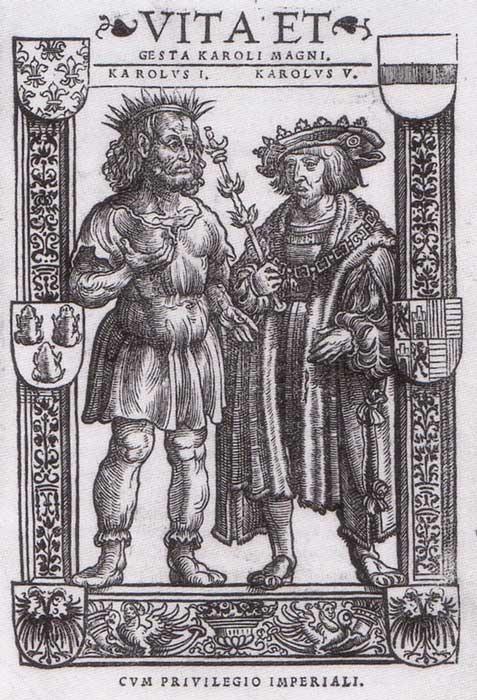 Carlomagno y Carlos V, ilustración de 'Vita et gesta Karoli Magni', Colonia (1521). (Public Domain)