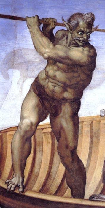 Caronte en el fresco del Juicio Final pintado por Miguel Ángel en la Capilla Sixtina (Roma). (Public Domain)