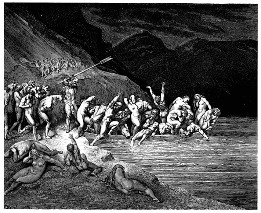 En la 'Divina Comedia' de Dante, Caronte obliga a los pecadores reacios a entrar en su barca golpeándoles con su remo. (Gustave Doré, 1857) (Public Domain)