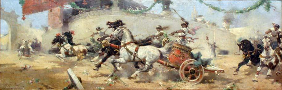 Carrera de cuadrigas en el Circo Máximo, óleo de Alfredo Tominz, 1890. (Dominio público)