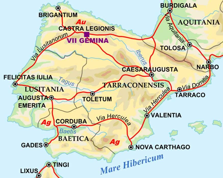 Mapa de las antiguas carreteras romanas de Hispania. El paso de Roncesvalles formaba parte de la carretera Ab Asturica Burdigalam, que partía de Asturica Augusta (Astorga) y llegaba hasta Burdigala (Burdeos) cruzando los Pirineos. (Public Domain)