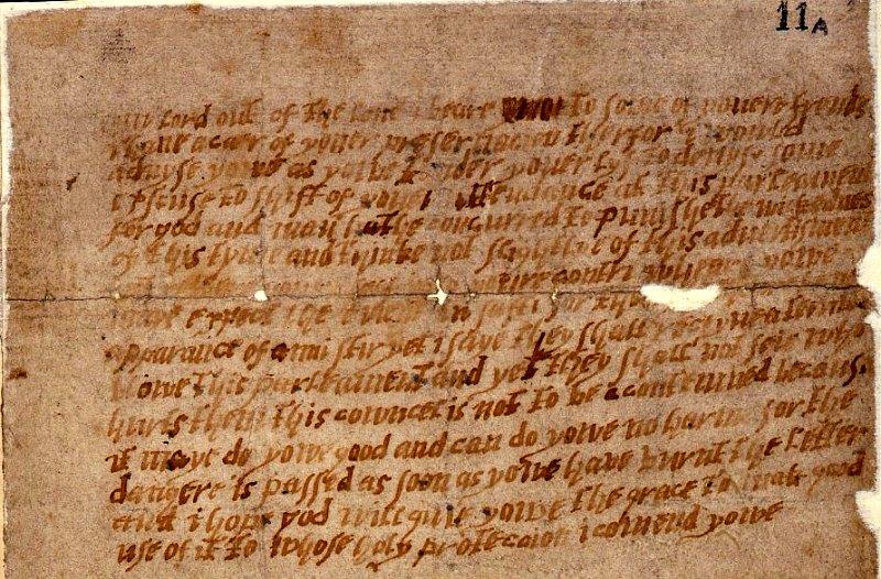 Fragmento de la carta anónima original enviada a Lord Monteagle en octubre de 1605, avisando del inminente atentado contra el parlamento británico. Archivos Nacionales del Reino Unido. (Public Domain)