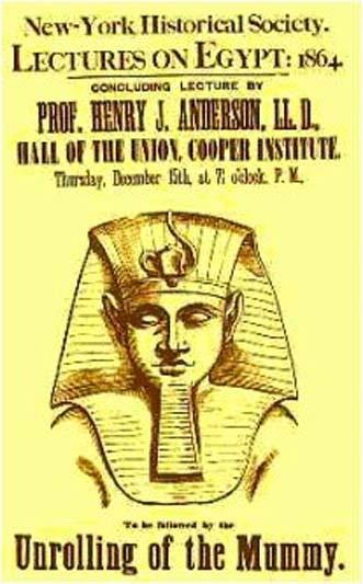 Cartel anunciando el 'desenrollado' de una momia. 1864.