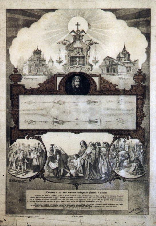 Cartel que anuncia la exhibición pública de la Sábana Santa del año 1898 en Turín. Secondo Pia tomó su famosa fotografía demasiado tarde como para incluirla en el cartel. Por esta razón, la imagen del rostro de Jesús está pintada. (Public Domain)