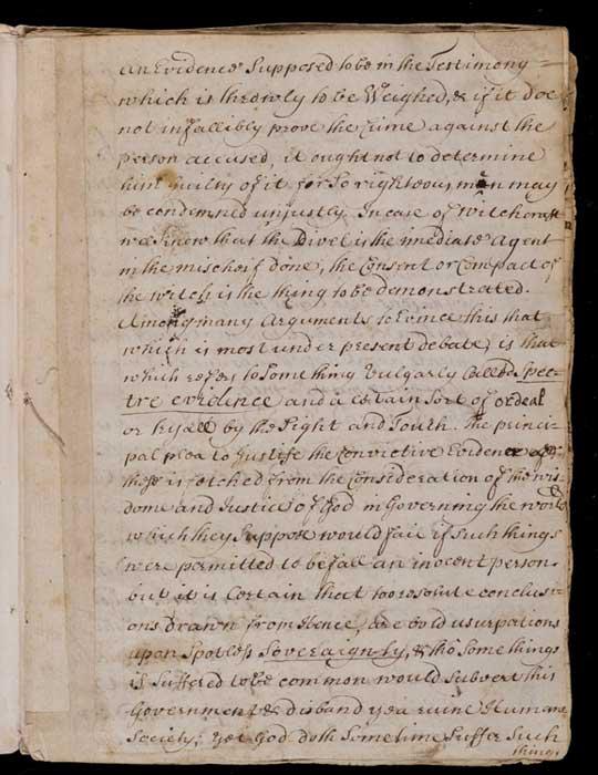 Página de 'Casos de Conciencia con respecto a la Brujería'. Crédito: Biblioteca Newberry