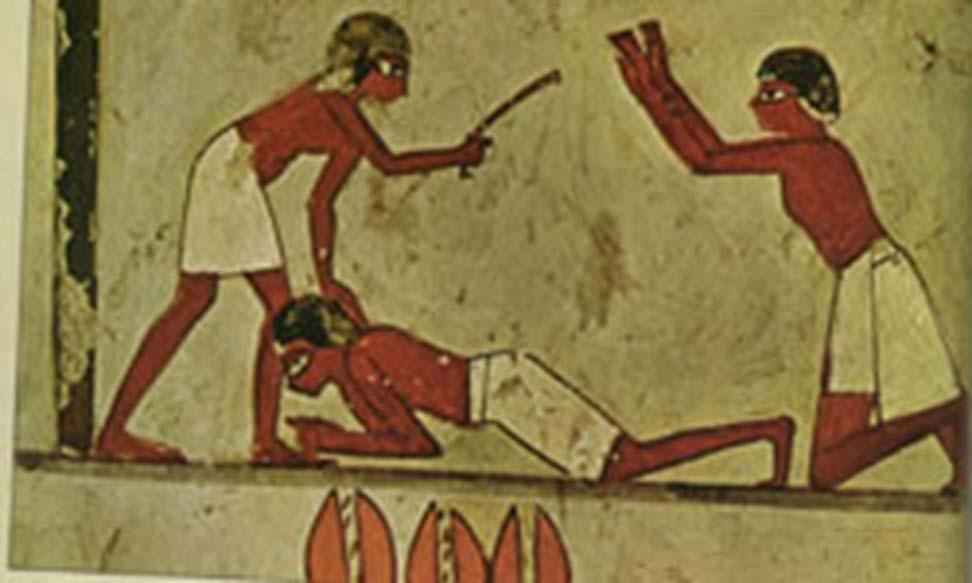 Ilustración de un castigo físico en el antiguo Egipto. (Dominio público)