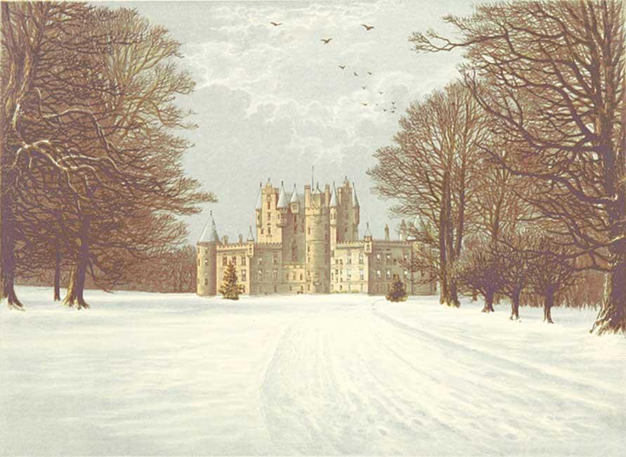 El castillo de Glamis nevado, hacia el año 1880. (Public Domain)