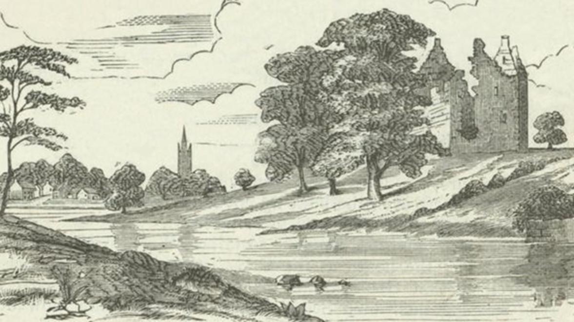 Impresión de un artista del siglo XIX: ruinas del segundo Castillo de Partick a orillas del río Kelvin, mirando en dirección sur hacia Govan. (Biblioteca Mitchell, Colecciones Especiales)